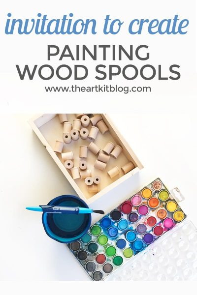 painting wood spools watercolor invitation to create art kids