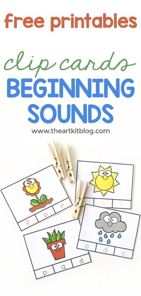BEGINNING SOUNDS clip cards for spring free printables 1