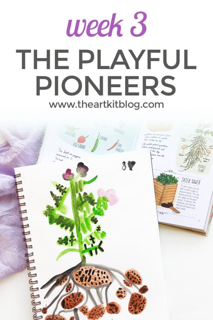 week 3 the playful pioneers watercolor potato plant copywork pinterest