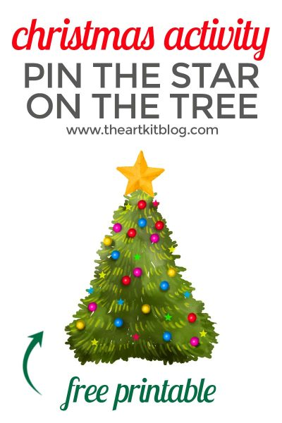 Pin the Star on the Christmas Tree – Fun Activity {Free Printable}