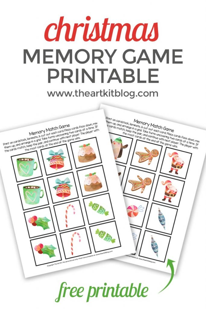 image relating to Printable Match Game known as Xmas Memory Activity Activity Free of charge Printable - The Artwork Package