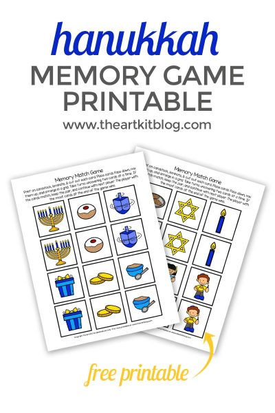 Hanukkah Memory Match Game {Free Printable}