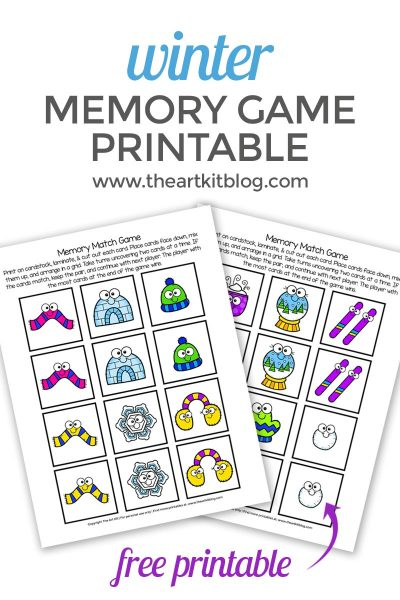 Winter Memory Match Game {Free Printable}