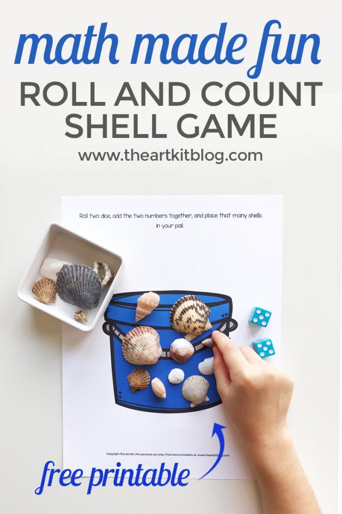bucket shell counting printable math game free printable pinterest