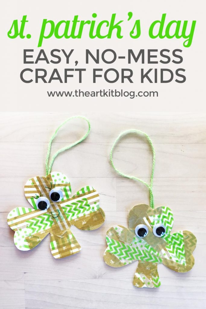 st patricks day craft kids washi tape shamrock no mess pinterest the art kit