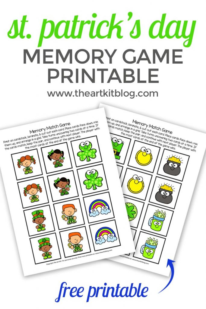 st patricks day memory match free game printable pinterest