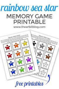 sea star memroy match game free printable