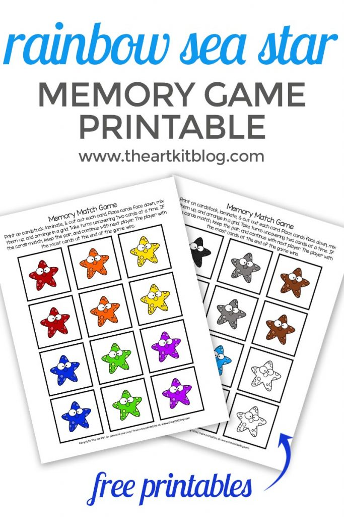 photo about Printable Match Game identified as Rainbow Sea Star Memory Activity Recreation Absolutely free Printable - The