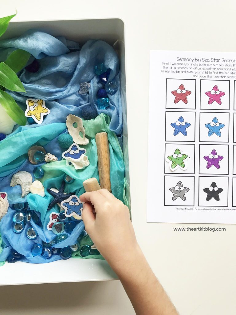 Sea Star Sensory Bin Search and Find {Free Printables}
