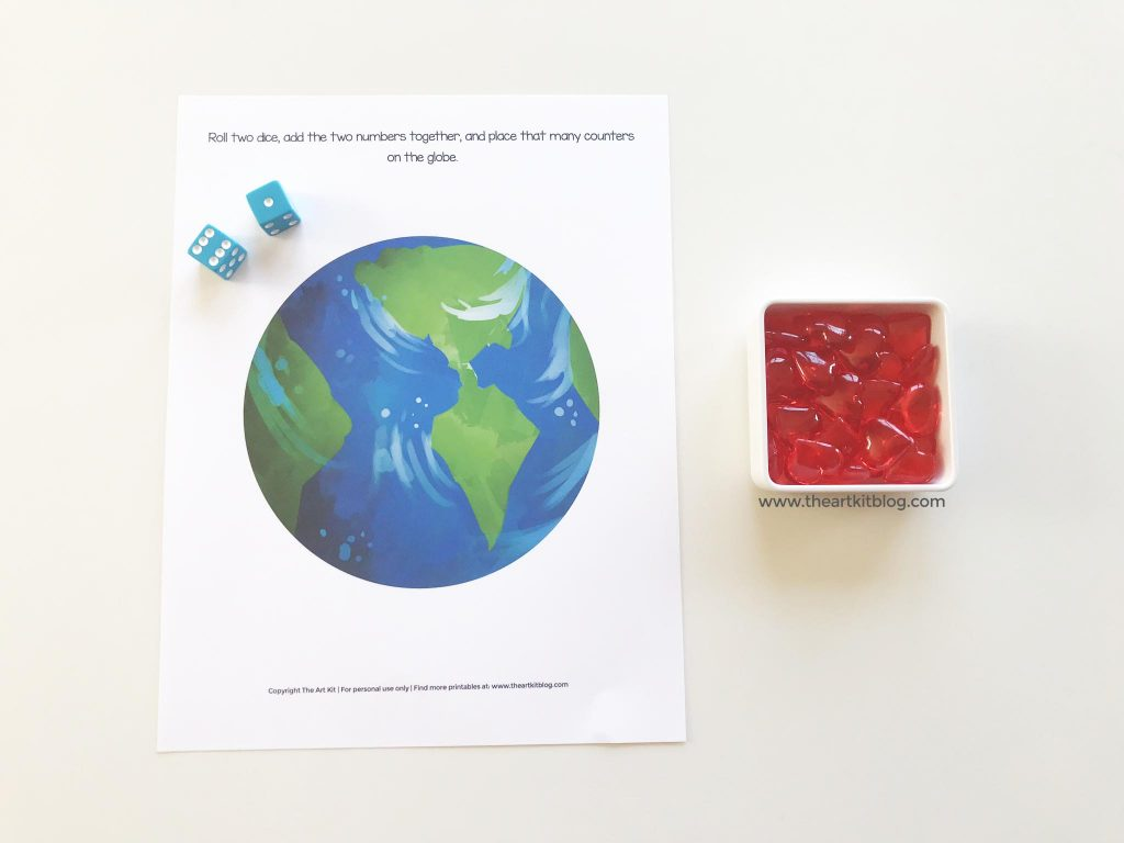 earth day math dice game free printable worksheet for kids number practice counting addition subtraction