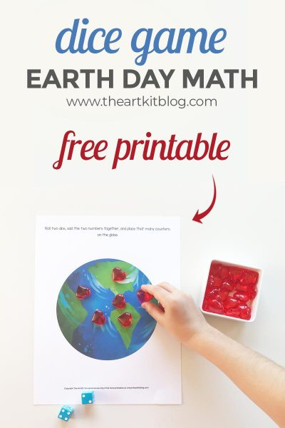 Free Printable Earth Day Dice Game Worksheet for Number Practice Fun