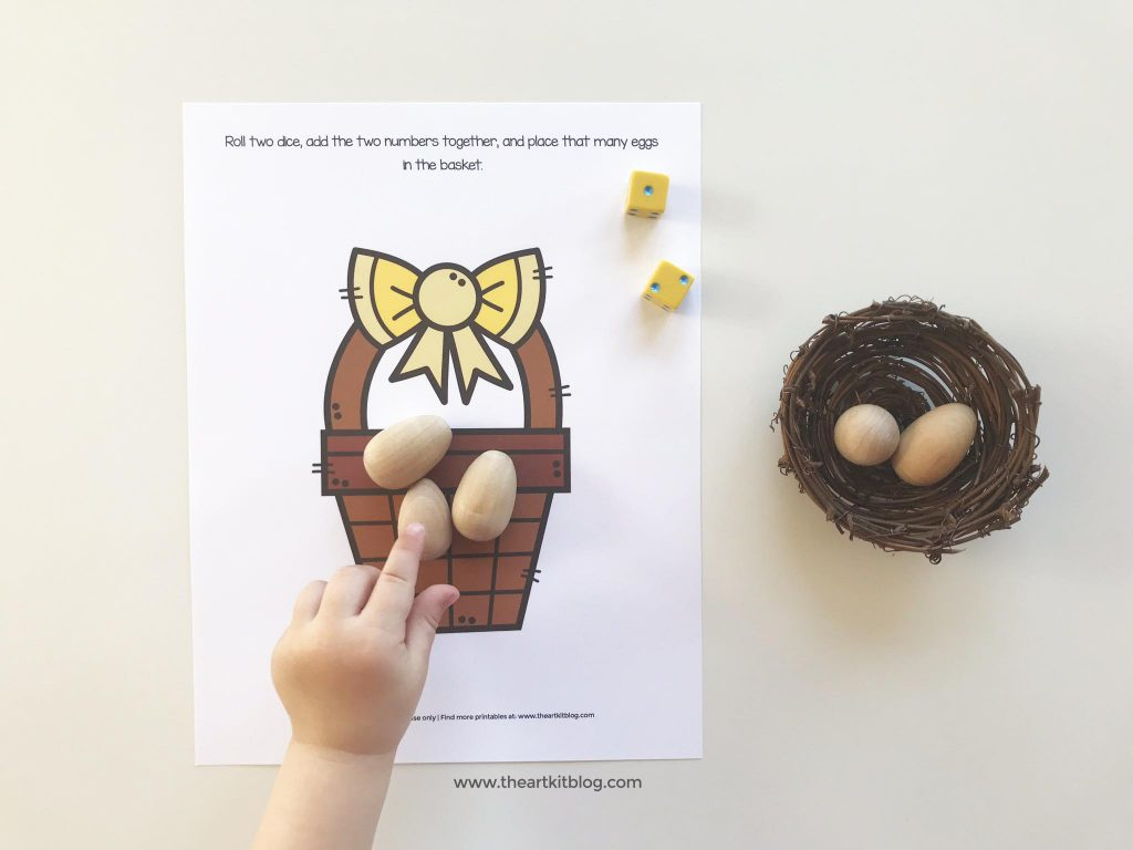 free printable dice game - easter egg math for kids for addition and subtraction practice