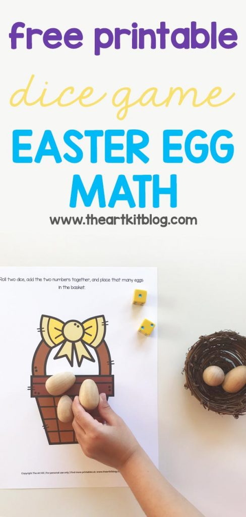 free printable dice game - easter egg math for kids