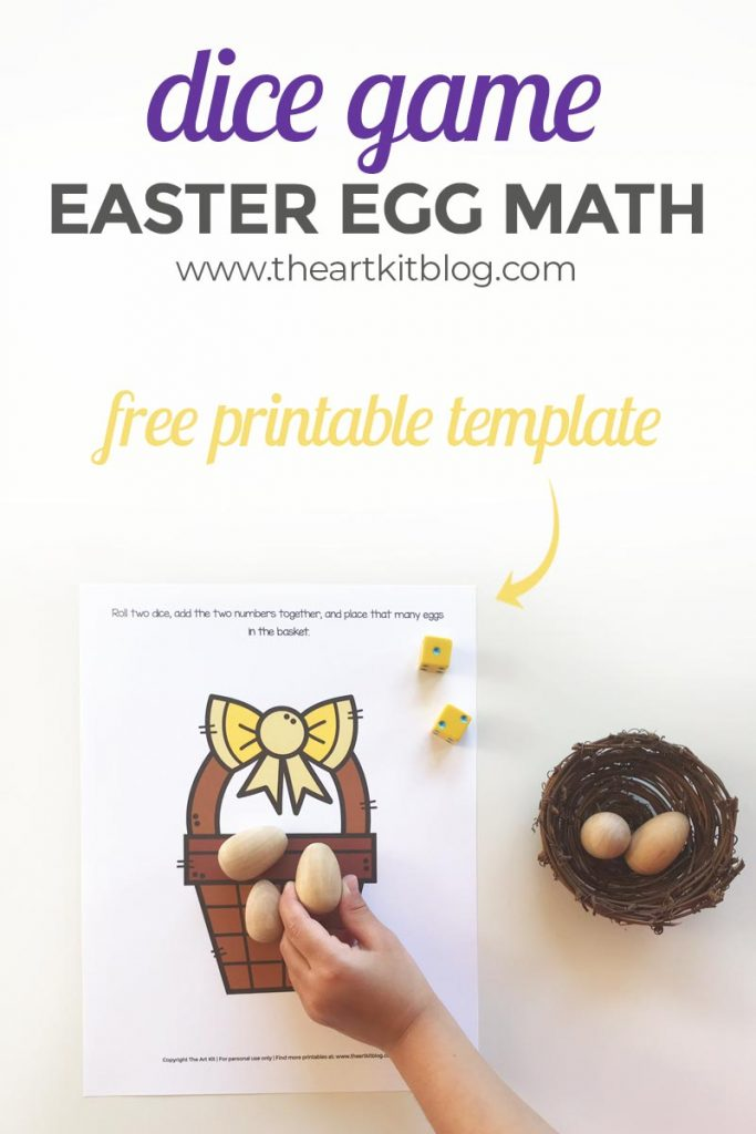 free printable dice game - easter egg math for kids for addition and subtraction practice - free downloadable worksheet pinterest