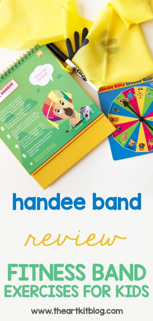Handee Band Review: fitness band exercises for kids designed by an occupational therapist #ot #fitnessforkids #exerciseforkids #handeeband #review #fitnessband #theartkit