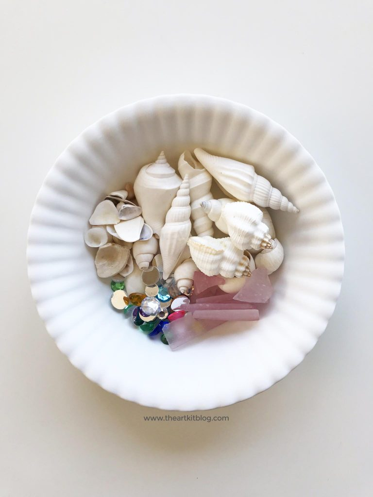 bowl of treasures - sea glass, sea shells, and gems