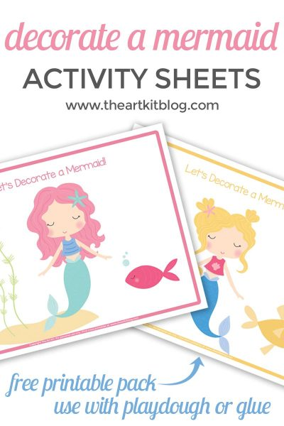 Let's decorate a mermaid activity sheet pack for kids. These free printables are fun for kids to use with playdough, glue, sequins, even shells. Download your activity pack for free at The Art Kit.