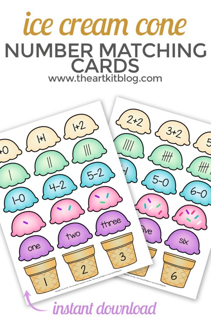 photo relating to Free Printable Cards for Kids known as Ice Product Cone Variety Game Up Printable Playing cards - Cost-free