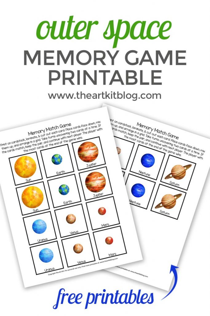 photo regarding Printable Match Game called Outer Room Memory Video game Sport Totally free Printable - The Artwork Package