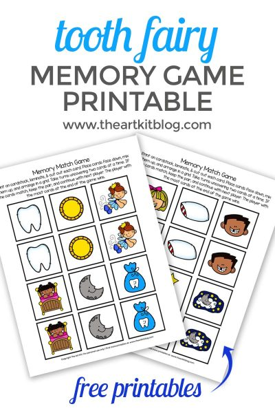 tooth fairy memory match game printable