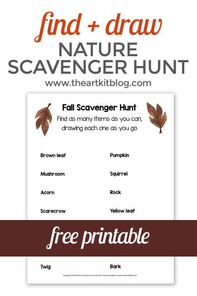 nature-scavenger-hunt-free-printable-the-art-kit-pinterest-FALL