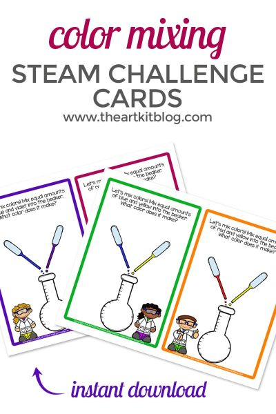 steam-kids-challenge-cards-color-mixing-printables-the-art-kit-pinterest