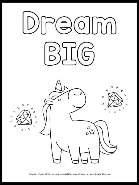 Dream Big Unicorn Coloring Page - The Art Kit