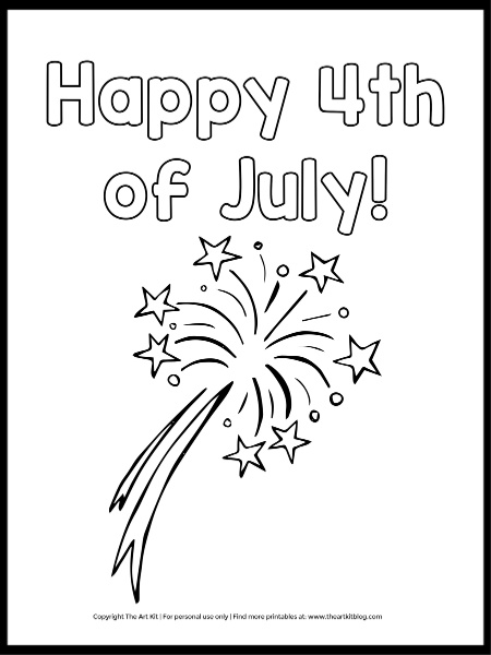Happy 4th Of July Coloring Page (FREE Printable!) - The Art Kit