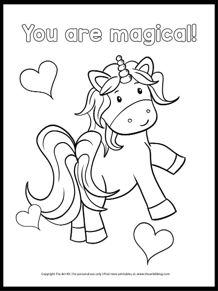 You Are Magical - Free Unicorn Coloring Page - The Art Kit