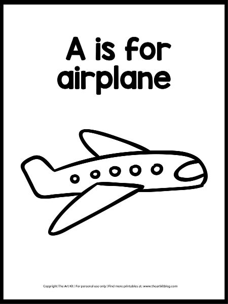 - Instant Download FREEBIE: A Is For Airplane Coloring Page - The Art Kit