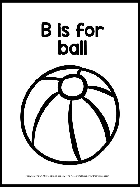- B Is For Ball Coloring Page (Instant Download!) - The Art Kit