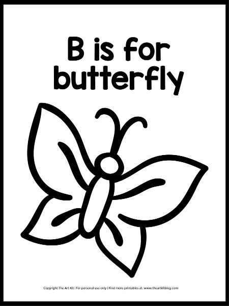 B Is For Butterfly Coloring Page (Super Easy To Download!) - The Art Kit