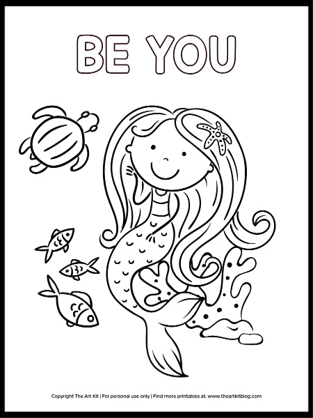 Be YOU! Mermaid Coloring Page - Download For FREE! - The Art Kit