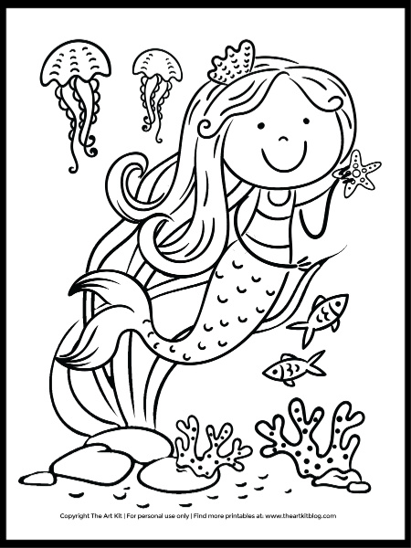 Cute Jellyfish And Mermaid Coloring Page: Free Download! - The Art Kit