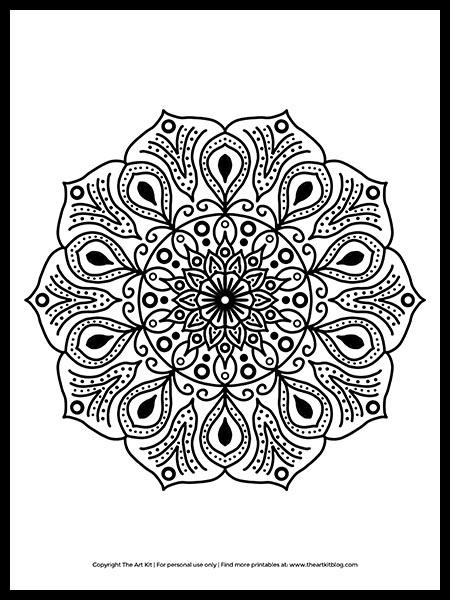 Free Printable! Mandala Coloring Page! - The Art Kit
