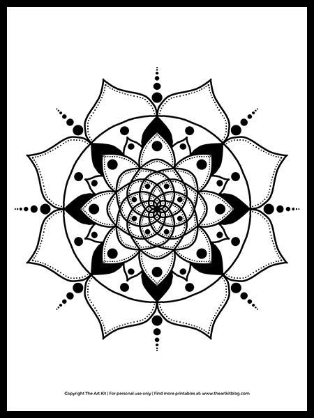 Free Printable Mandala Coloring Page The Art Kit