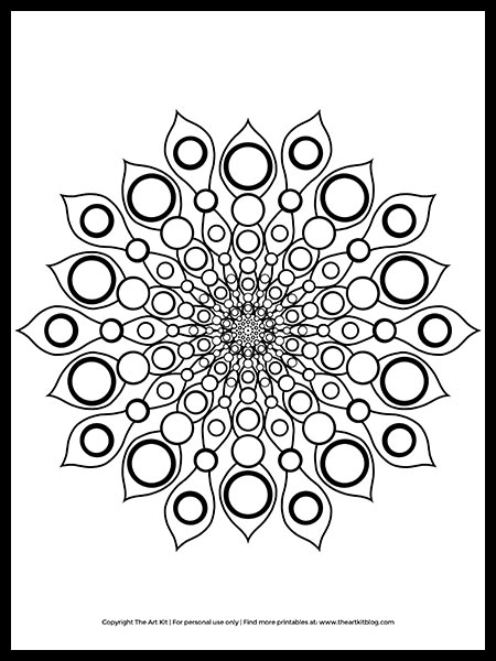FREE Circular Mandala Coloring Page Printable! - The Art Kit
