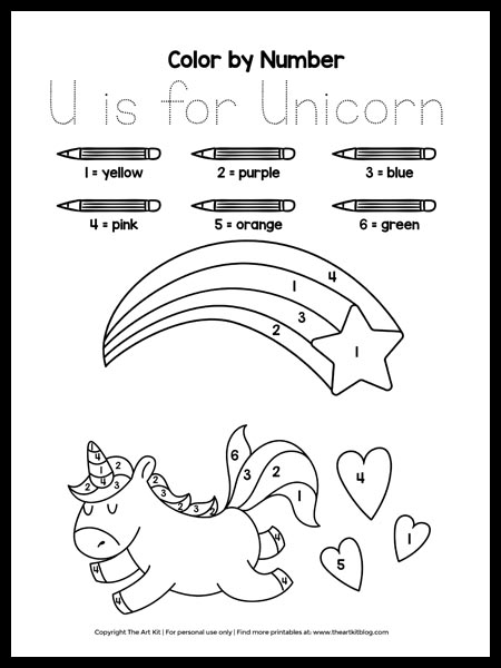 color by number u is for unicorn coloring page download