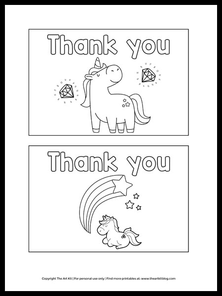 - FREE Printable Unicorn Thank You Cards To Color! - The Art Kit