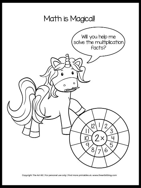 UNICORN Multiplication Math Worksheets And Coloring Pages - CUTE Printables!  - The Art Kit