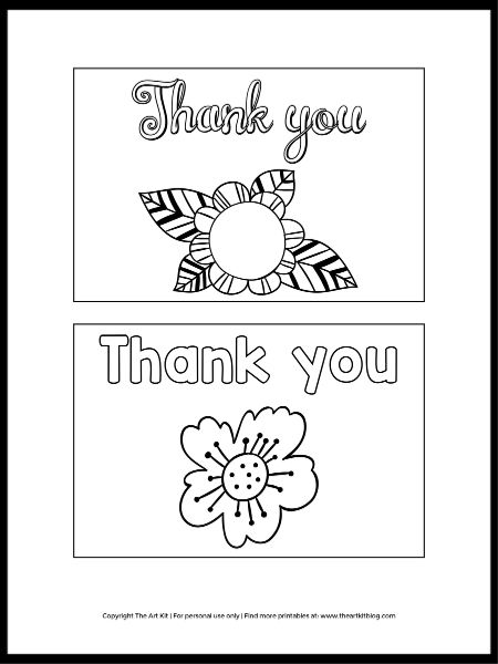 Cute Flower Note Cards To Color - Free Printable! - The Art Kit