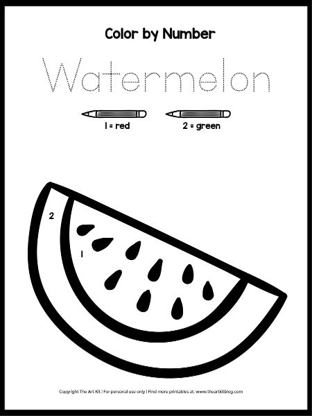 FREE PRINTABLE Color by Number Printable: Watermelon