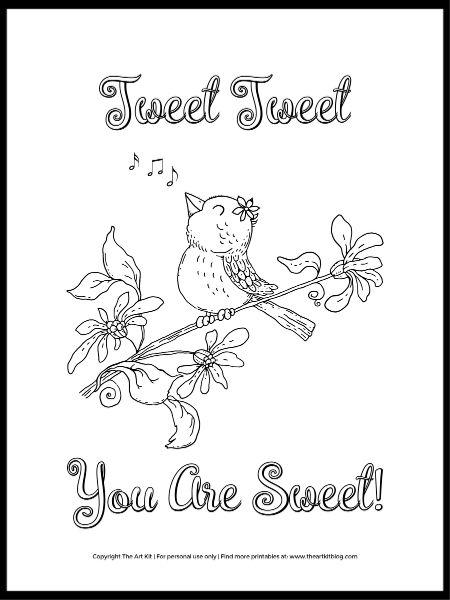 Cute Bird Coloring Page Tweet Tweet You Are Sweet The Art Kit