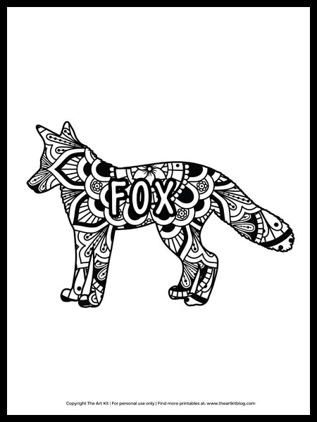 - CUTE! Mandala Fox Coloring Page - Free Printable! - The Art Kit