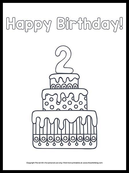 Free Happy 2nd Birthday Cake Coloring Page The Art Kit