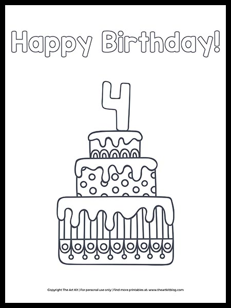 FREE! Happy 4th Birthday Cake Coloring Page - The Art Kit