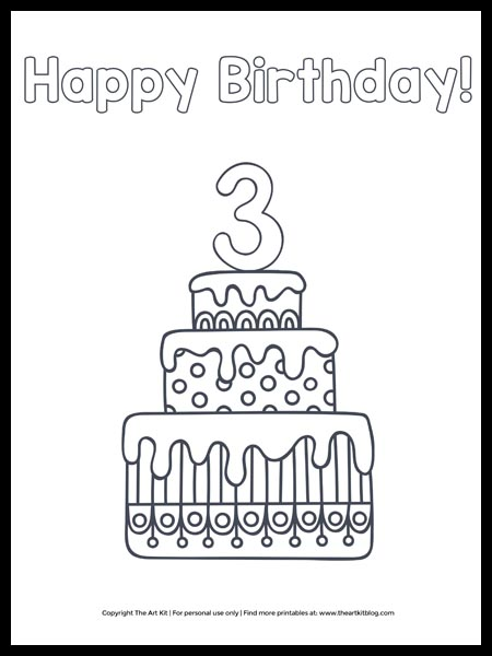 Free Printable Happy 6th Birthday Cake Coloring Page The Art Kit
