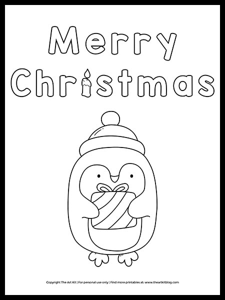 Free Merry Christmas Penguin Coloring Page The Art Kit
