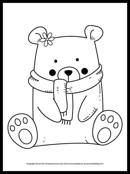 FREE! Winter Bear Coloring Page (cute printable) - The Art Kit