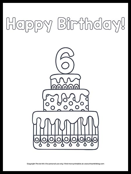 FREE: Printable Happy 6th Birthday Cake Coloring Page - The Art Kit